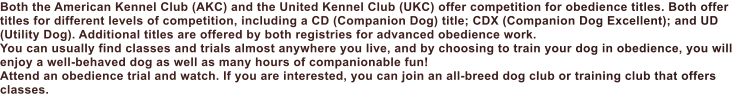 Both the American Kennel Club (AKC) and the United Kennel Club (UKC) offer competition for obedience titles. Both offer titles for different levels of competition, including a CD (Companion Dog) title; CDX (Companion Dog Excellent); and UD (Utility Dog). Additional titles are offered by both registries for advanced obedience work. You can usually find classes and trials almost anywhere you live, and by choosing to train your dog in obedience, you will enjoy a well-behaved dog as well as many hours of companionable fun! Attend an obedience trial and watch. If you are interested, you can join an all-breed dog club or training club that offers classes.